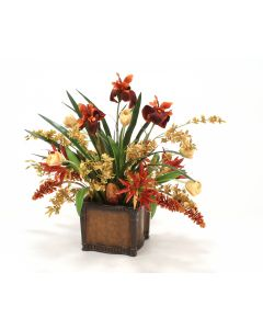 Tulips, Orchids, Irises in Leather-Finish Planter