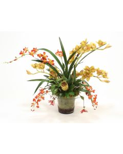 Tropical Orchid Mix in Glass Vase