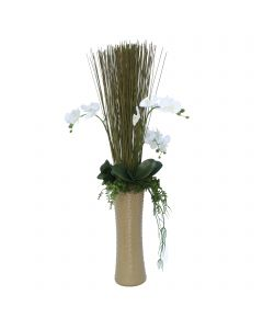 Orchids With Marsh Reeds and Succulents in Nail Head Latte Brown Vase