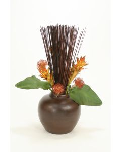 Bird of Paradise Leaves, Cane Reeds in Fat Brown Vase
