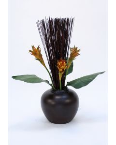 Bird of Paradise Leaves with Cane Reeds in Brown Fat Vase