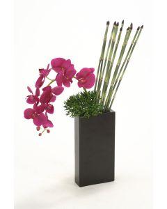Violet Phalaenopsis and Snake Grass in Black Metal Vase