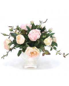 Cream Pink Rose and Peonies in White Urn