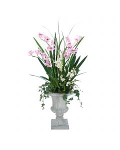 Lavender Orchids with Ivy in Concrete Urn