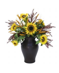 Sunflowers and Berries in Large Water Jar