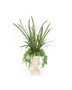 Fern with Cymbidium Foliage and Ivy in Grey Classic Urn