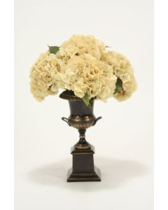 Beige Hydrangeas in Antique Bronze Trophy Urn