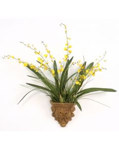 Gold-Yellow Oncidium Orchids in Summerdale Acanthus Wall Sconce