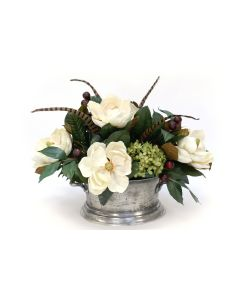 Magnolia with Hydrangeas in Silver Urn