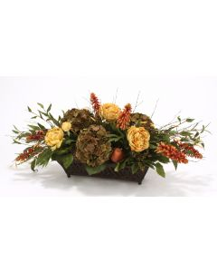 Horizontal Design with Roses, Peonies, Berries and Birch in Rust Filigree Planter