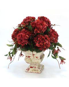 Red Hydrangeas, Curly Vine, Honeysuckle in Red Crackle Urn
