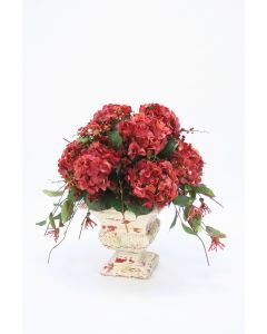 Red Hydrangeas, Curly Vines, Honeysuckle with Preserved in Red/Cream Crackled Urn