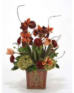 Rust Iris and Ranunculus with Green Hydrangea in Square Porcelain Planter