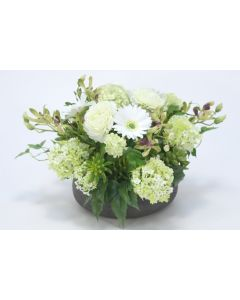 Orchid with Daisies and Snowball Hydrangeas in Low Bowl