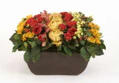 Discontinued Rowed Artificial Mix of Antique Gold and Burgundy Peonies, Roses and Poppies in A Square Rust Stone Finish Planter