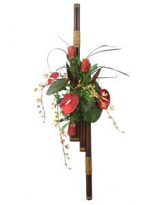 Orchid, Proteas, Antheriums, Tropical Foliage Wall Decor On Bundled Rattan Poles
