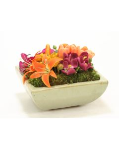 Orange, Yellow Floral in Square Avocado Stoneware Tray