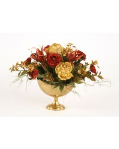 Rust Red, Antique Gold in Oval Antique Brass Compote