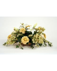 Lilies, Dahlias, Hydrangeas, Ivy, Spirea in Low Antique Brass Tray