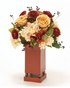 Antique Gold, Rust, Red, and Green-Brown Mix in Red Tole Planter