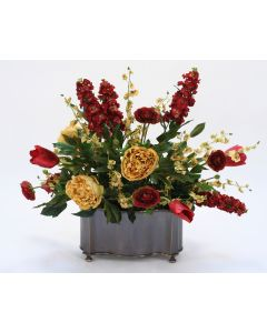 Burgundy and Gold Garden Flowers in Bronze Planter