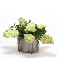 Green and Green-Rose Hydrangeas in Blackened Pewter Finish Planter