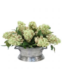 Hydrangea's in Oval Pewter Planter