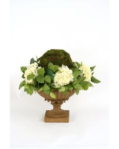 Moss Ball Wreathed By Cream-White Hydrangeas in Low Urn