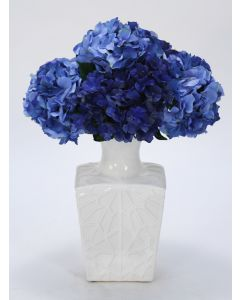 Blue Hydrangeas in White Kira Vase