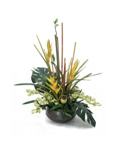 Tropical Mix of Yellow Heliconia Cream Proteas and Light Green Cymbidiums in Aged Copper Metal Bowl