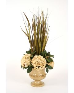 Dried Grasses Wreathed with Hydrangeas in Almond Classic Urn