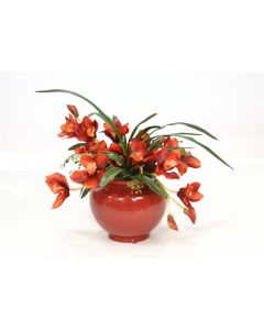 Rust Orchids with Maiden Hair Fern in Red Ceramic Planter