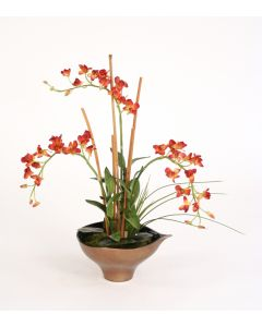 Rust Orchids, Arrorog and Tropical Foliage in Bronze Leaf Bowl