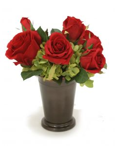 Red Roses and Green Hydrangeas in Bronze Mint Julep Cup