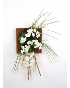 Wall Hanging with Orchids, Bamboo and Grass in Wood Sushi Tray (LEFT Facing)