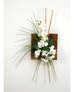 Wall Hanging with Orchids, Bamboo and Grass in Wood Sushi Tray (RIGHT Facing)