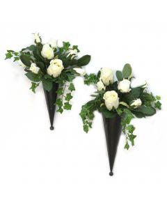 Silk Floral Nosegays in Metal Cones