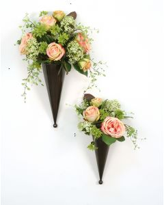 Pink and Green Floral Nosegays in Bronze Metal Cones (Set of 2) - For Tabletop Or Wall Hanger