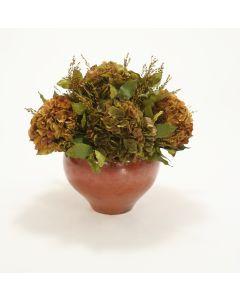 Burgundy Brown & Green Brown Hydrangeas in Copper Ceramic Bowl