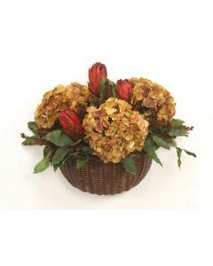 Burgundy Brown Hydrangeas and Foliage Mix in Wicker Wall Basket
