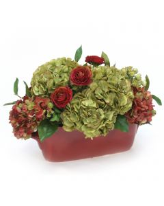 Green Hydrangea with Ranunculus in Scalloped Planter