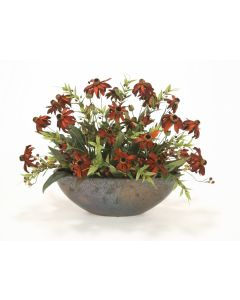 Rust Black-Eyed Susans, Berries and Foliage in Bronze Oval Bowl