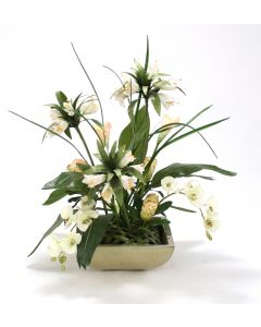 Orchid and Calla Lily Mix with Greenery in Sm Sq. Stone Tray