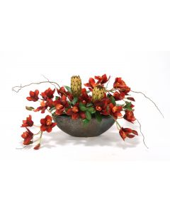 Rust Orchids and Protea in Crystal Bronze Planter