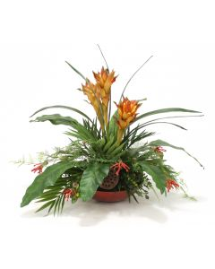 Tropical Mix of Bromeliads, Guzmania and Palm in Red Heritage Bowl