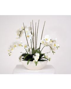 White Orchids and Fan Palms in Oval Black Pearl Ceramic