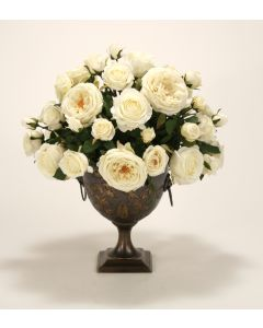 Cream White, Ivory Roses in Bronze Compote