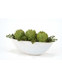 Green Berries and Artichokes in Oval White Glazed Ceramic Planter