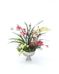 Fuchsia and Green Orchids in Distressed Pewter Hampton Urn