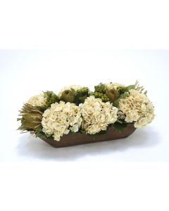 Beige Hydrangeas, Natural Preserved Basil Protea and Brunia in Wooden Tray